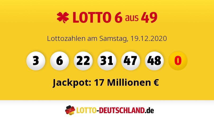 Lottozahlen Samstag 20.4 19